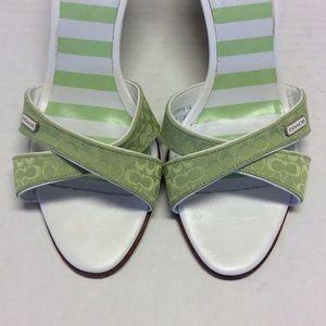Coach Shoes - COACH Signature Green Slide Sandals Size 6